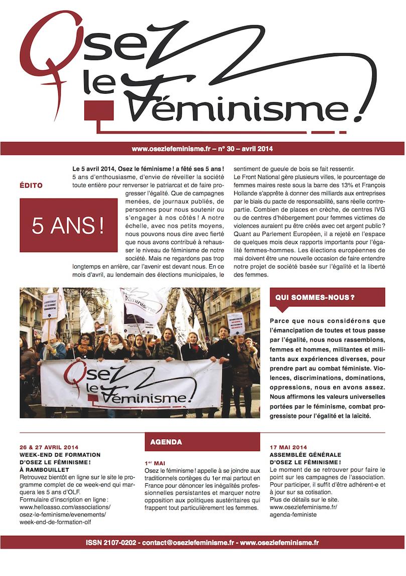 Journal 30 d'Osez le féminisme ! L