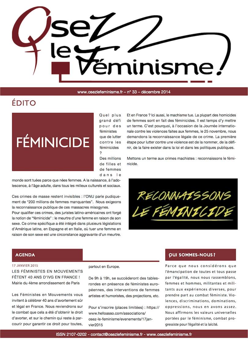Journal 33 d'Osez le féminisme ! L