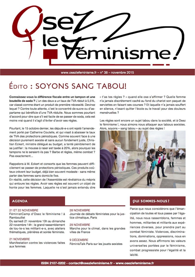 Journal 38 d'Osez le féminisme ! L