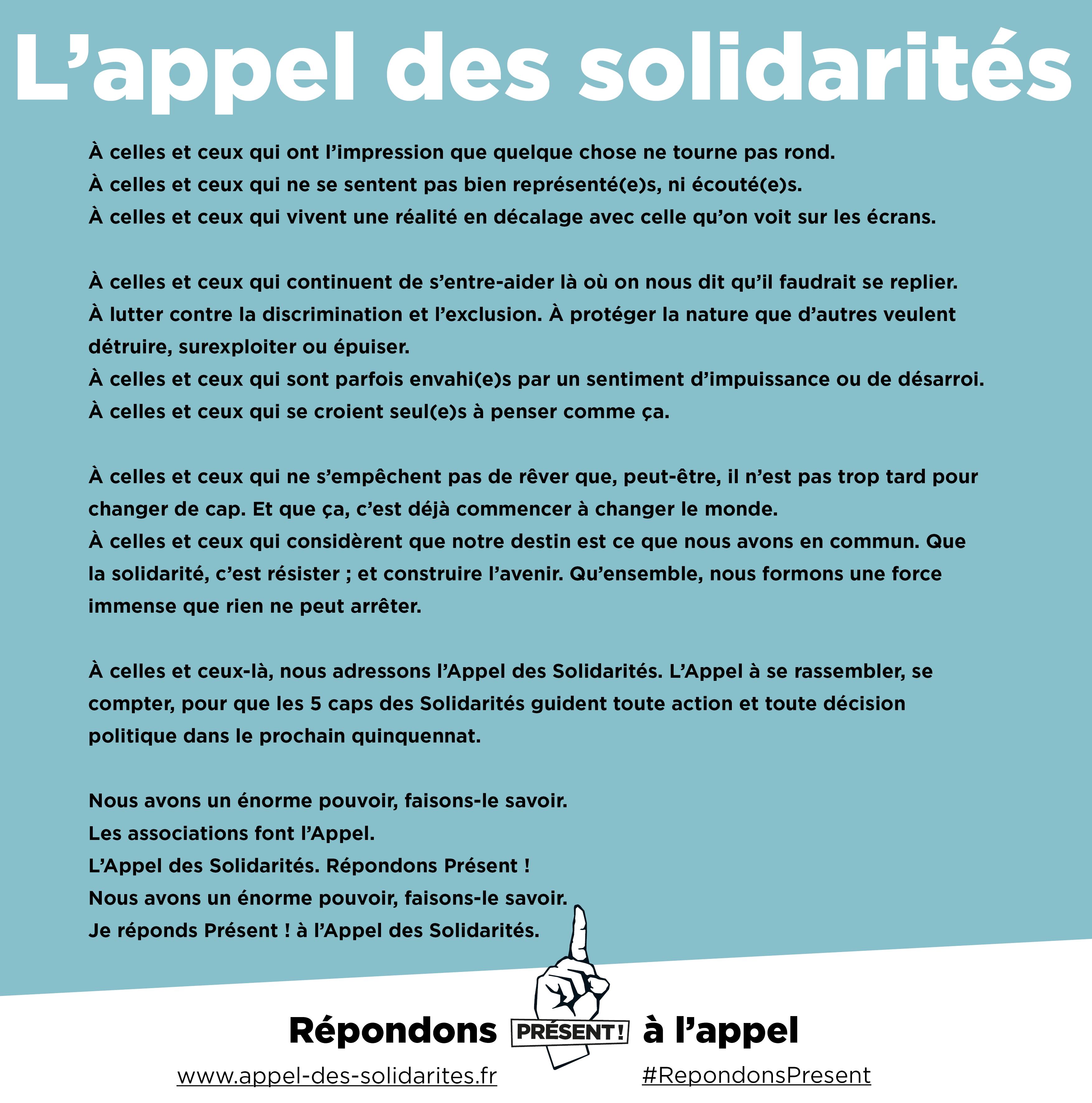 Appel des solidarite¦üs